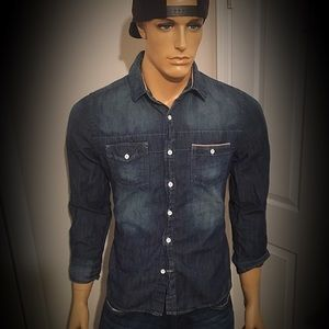 Express Brand Fitted Denim Chambray Button Shirt M